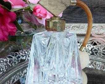 Vintage Cut Glass Perfume Bottle, Lovely Glass Perfume Bottle, Fragrance Bottle, Vanity Item, Boudoir