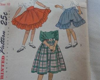 1940's Girls' Skirt, Dirndl Skirt, Full Skirt, Circle Skirt, Petticoat Skirt- Vintage 1940s Simplicity Sewing Pattern 2625- Size 10 Waist 24