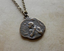SALE Voices - St. Joan of Arc Religious Medal Necklace in Antique Bronze or Sterling Silver