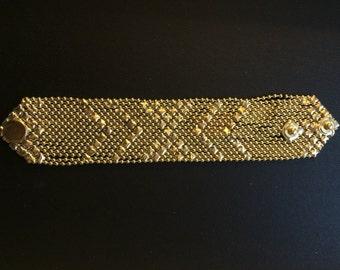 gold bracelet,Gold Mesh Bracelet,Snap button bracelet,Men Gold bracelet,Gold bracelet for women,Modern Jewelry