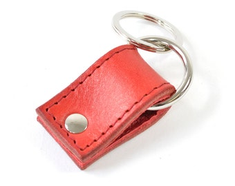 Handmade Red Hand Dyed Leather Keychain Key Fob Keyring.
