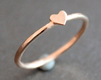 Heart Ring 14k Rose Gold Vermeil Band with Small Heart - READY TO SHIP (Various Sizes)
