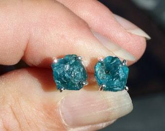 Cerulean Sky - Beautiful Natural Neon Blue Apatite Rough Sterling Silver Earrings