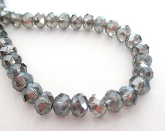 "Gray Crystal Rondelle Beads - Metallic Sparkly - Faceted Glass Abacus Beads - Drilled Beads - 6mm - 14"" Strand - DIY Bridal Jewelry Making"