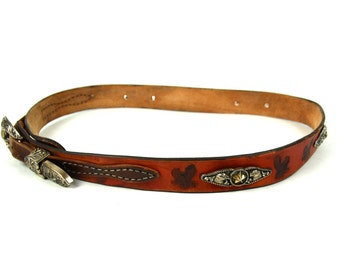 Eagle Themed Leather Belt with Mounts and Decorative Plaques