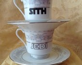 Sith and Jedi Valentine's Day Altered Tea Cup and Saucer Pair