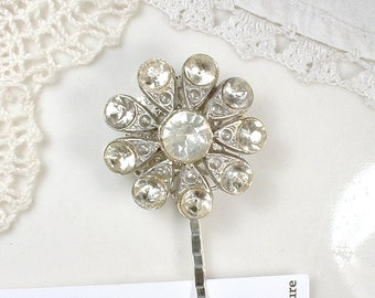 Antique Bridal Hair Pin, 1920's Something Old Paste Rhinestone Vintage Wedding Silver Bobby, Downton Abbey OOAK Small Victorian Hair Clip