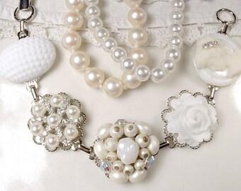 White Ivory Pearl Bridal Bracelet, Vintage Earring Bracelet, Rhinestone & Cameo Silver Button Charm, Bridesmaids Jewelry Wedding Gift