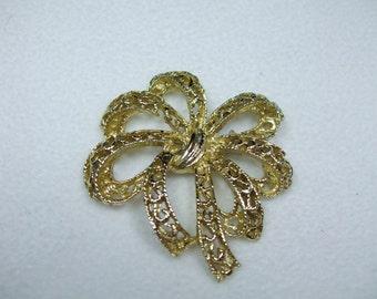 Vintage Bow Goldtone Brooch- Filigree Design