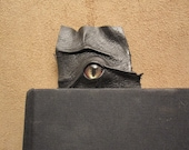 Grichels leather bookmark - black with red and gold slit pupil shark eye