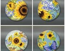"3.5"" sunflower fridge magnet, sunflower magnet, sunflower decor, housewarming gift spring decor,  kitchen decor, large fridge magnet"