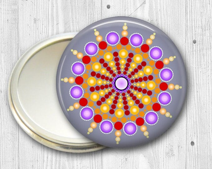 mandala pocket mirror, hand mirror, mirror for purse, gift for her,  fashion accessory,  bridesmaid gift, stocking stuffer  MIR-MAND-38