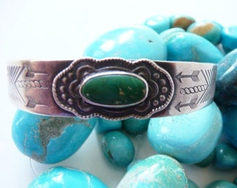 Old pawn Navajo green turquoise sterling open cuff ~ hand stamped ~ hallmarked ~ SMALL