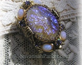 "RESERVED/SOLD Victorian Egyptian ""Cleopatra"" Tanzanite Dragons Breath Ring - Violet Fire Art Glass Stones - Dragon's Breath Jewelry"