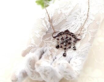 Antique Bohemian Art Nouveau garnet necklace || ГРАНАТ