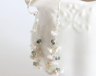 Gemstone Pearl Cascade Earrings, Dark Blue, Pearl Cascade Earrings, Sterling Silver, Delicate Boho Earrings, Tundra Blue Sapphire