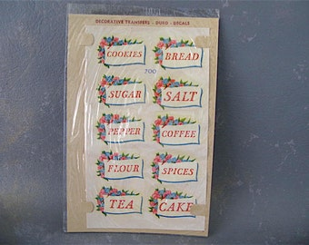 Vintage Decal, Labels, Kitchen, canister label, storage labels, duro, floral, pink, blue