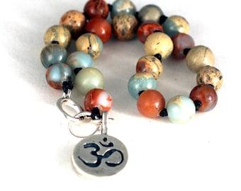 Blue Opal Knotted Charm Bracelet, Sterling Silver Lotus Flower, Om Charm, Yoga Jewelry, Jewelry Gift, Beaded Jewelry, Charm Bracelet