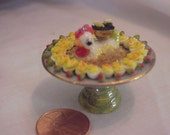 Dollhouse Miniature Porcelain chicken display platter, deviled eggs & caviar IGMA Fellow J Uyetake