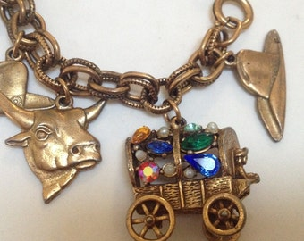 Brass Cowboy Covered Wagon Chunky Charm Bracelet – Large Charms Signed Germany 1950s