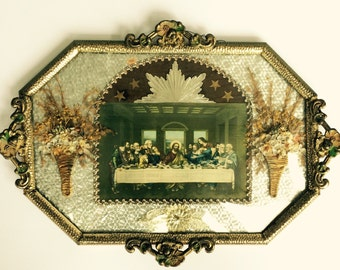 Vintage Religious Wall Art with Convex Glass and The Last Supper