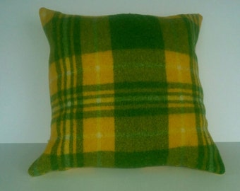 Wool Pillow, Green and Yellow Plaid, 18 inch