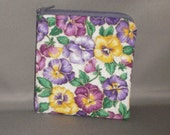 Coin Purse - Gift Card Holder - Card Case -Small Padded Zippered Pouch - Mini Wallet - Pansy - Pansies - Purple