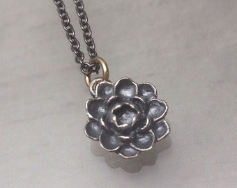 "Tiny Lotus Bloom Pendant on 24"" Long Chain"