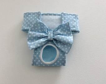 Dog Panty / Dog Diaper - Blue with white polka dots - XXS- XS