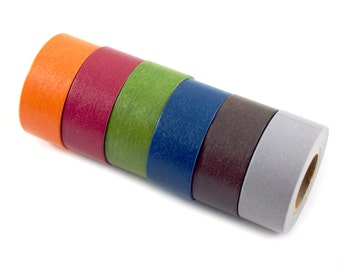 MASTE Fall Solids washi masking tape set - set of 6 autumn/fall colored tapes- Japanese washi tape