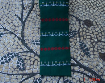 Vintage Rooster Green Necktie with Anchors and Wheels - Hispter Chic