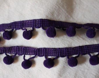 dark purple pom pom fringe