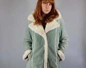 Vintage 90s does 70s Women's Light Blue Fleece Suede Sherpa Style Southwest Hippie Boho Coat Jacket