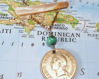 Dominican Republic, Vintage Coin Necklace - - Taino Princess - - Hispaniola - Arawak - Caribbean Islands - Recycled - Salvaged