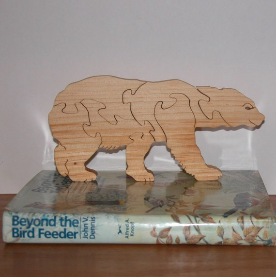 Polar bear puzzle decor for home or office wooden polar for Bear home decorations