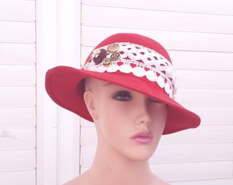 hat  hats vintage   wool hat vintage   women  vintage red Hats   Hats & Caps   hat vintage1960   Free Shipping