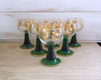 Vintage Luminarc Wine Goblets - Emerald Green Ribbed Stem - Gold Grape Leaf Design - France - 1960's