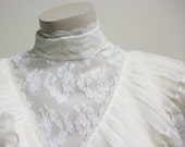Vintage 1970's Peasant Lace Pleated Wedding Dress