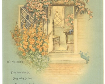 MOTHER MOTTO PRINT, 1940's, Donald Art Co., Floral Trellis, Vintage Sentimental Verse Artwork, Mother's Day Gift, Cottage Decor