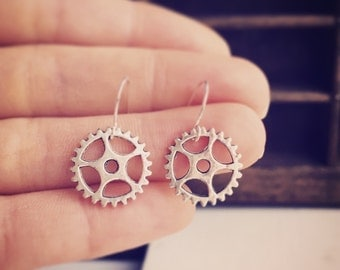 Little Gear Earrings / Gifts Under 10 Steampunk Bridesmaids Wedding Bridal Party Gift Favors Post Apocalyptic Cog Industrial Costume Cosplay