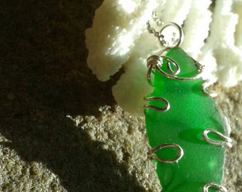 Bright Green Seaglass pendant beach wedding sale