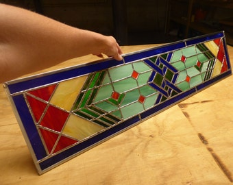 Sidelight Stained Glass Panel - Transom - Colorful Prairie Style