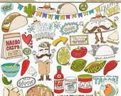 SALE - Taco Tuesday Clip Art, Cinco de mayo, Mexican Fiesta Menu, Food ClipArt, Instant Download Printable Digital Graphics, Hot Sauce