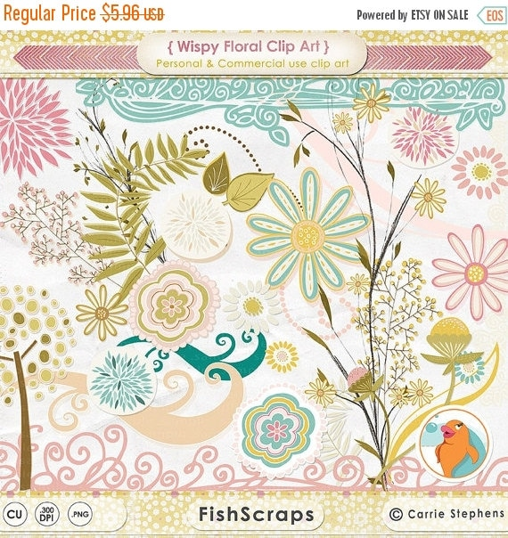 SALE - Teal & Pink Flower ClipArt, Wispy Floral Digital Graphics, Daisy Swirl Border ClipArt, Leaves, Foliage, Baby Shower, DIY Mother's Day