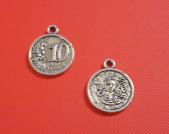 Last Set of 25 antique silver euro coin with venus charms