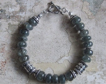 Moss Aquamarine and Sterling Bracelet