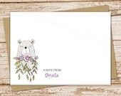 personalized bear note card set . bear with flowers stationery . stationary . folded cards . doodle art . set of 8