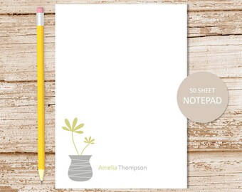 personalized notepad . potted plants note pad . floral vase notepad . personalized stationery . succulent stationary