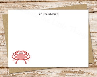 personalized crab note cards . red crab notecards . FLAT personalized stationery . nautical beach stationary . set of 10