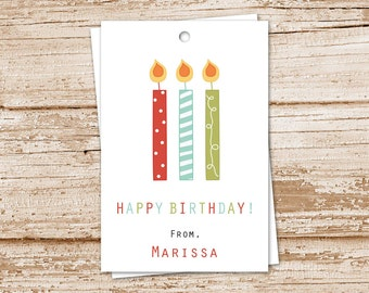 birthday candles tags . PRINTABLE personalized candle gift tags . happy birthday tags . gift tags . wording choices . digital . YOU PRINT